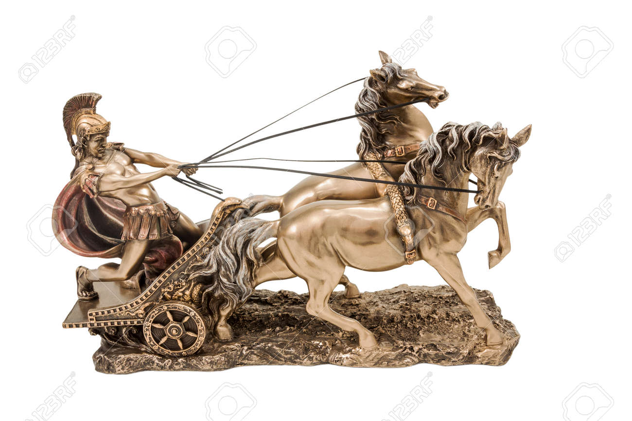 Bronze statuette of the Roman war in a chariot with two horses isolated on a white background - 36756547