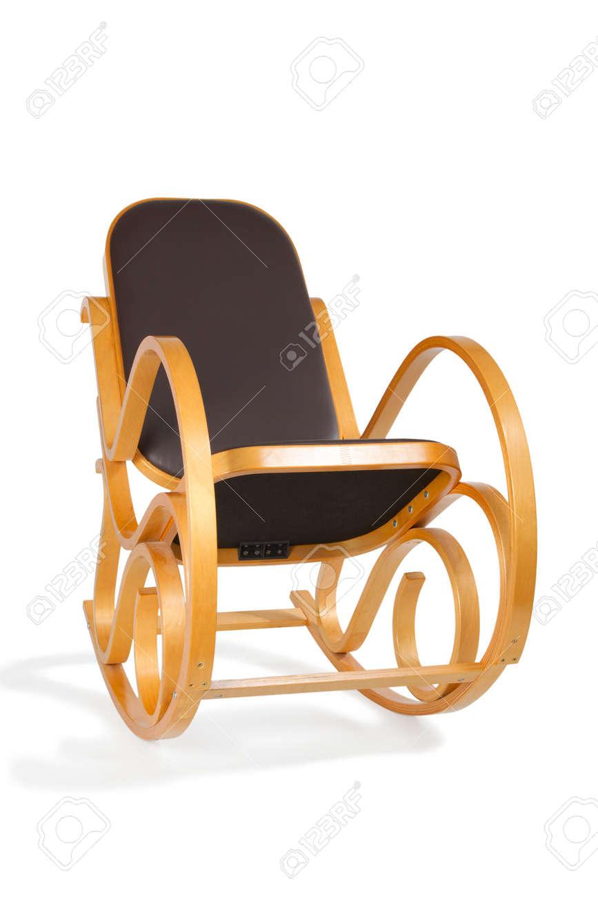 Brown Holzerne Schaukelstuhl Mit Sitz Und Rucken Leder Auf Einem