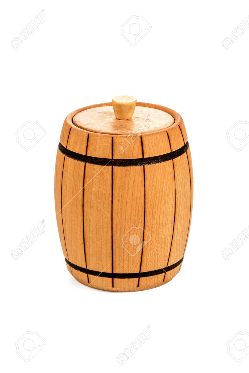 Small Wooden Barrel Covered With A Lid Varnished Closeup Isolated