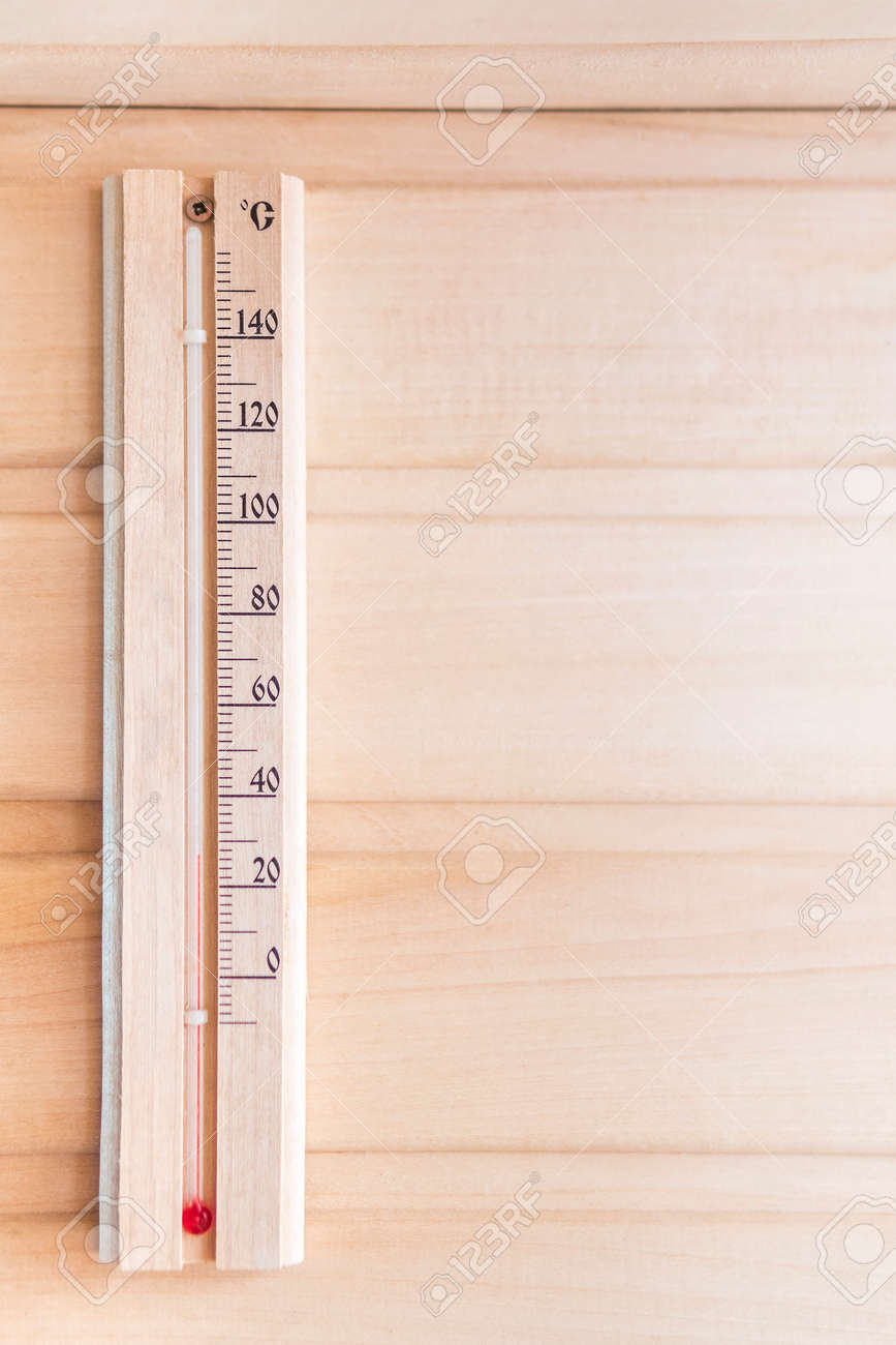Wooden Thermometer Showing 28 Degrees Celsius On A Wooden Wall Stock Photo Picture And Royalty Free Image Image 107432009