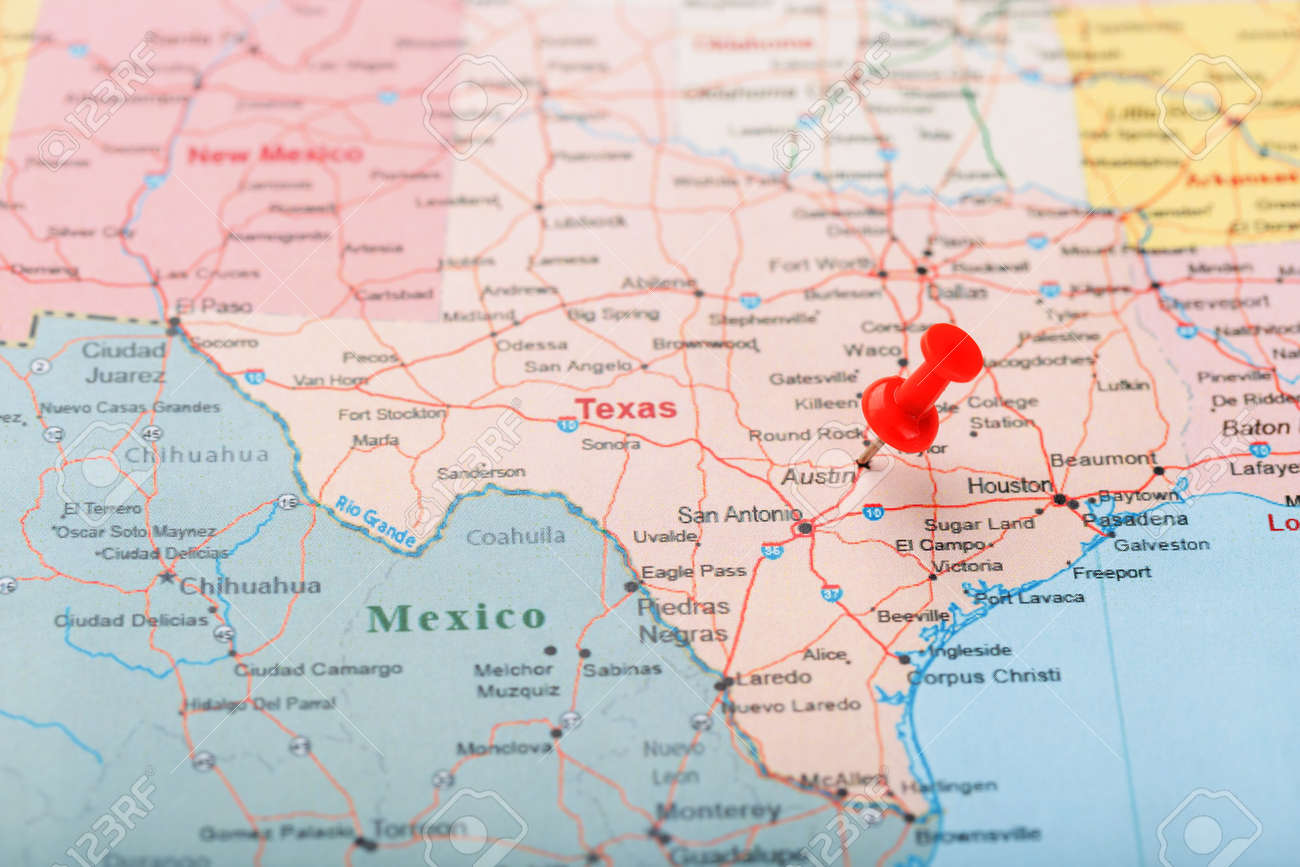 Us Map Texas Red Clerical Needle On A Map Of USA, Texas And The Capital Austin