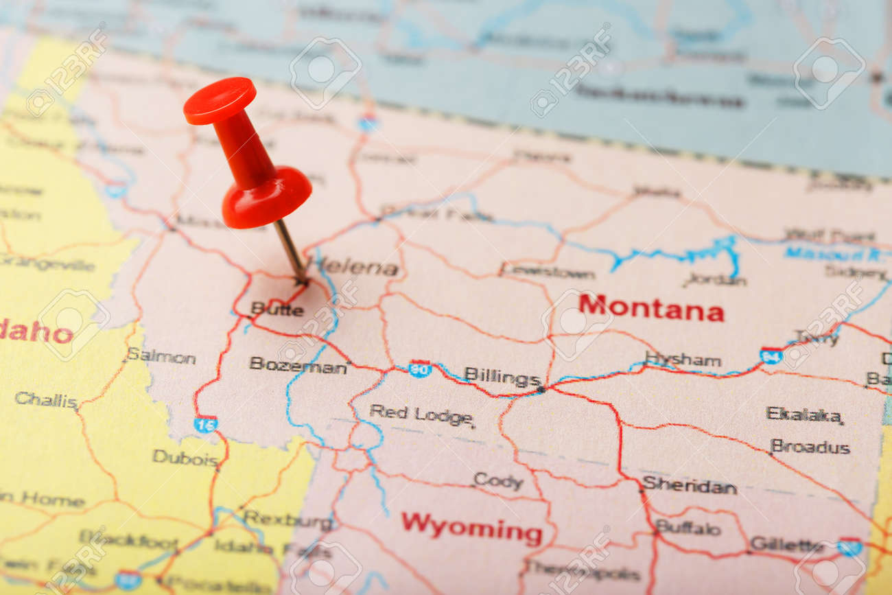 Red clerical needle on a map of USA, Montana and the capital.. on snowflake in montana, home in montana, dinosaurs in montana, animals in montana, usa map in miami, butterflies in montana, turkey in montana, tent in montana, usa map from montana,