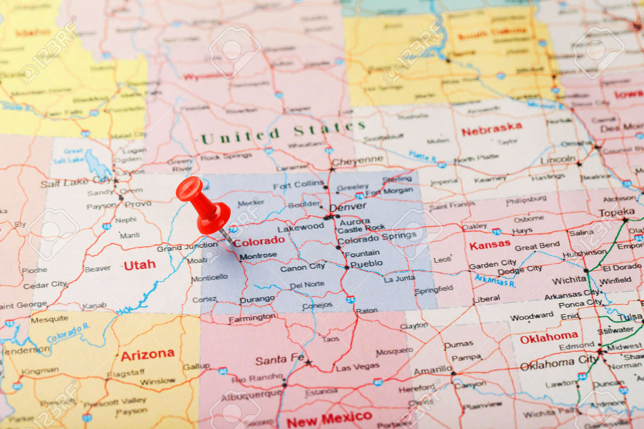 Denver Colorado On Us Map Red Clerical Needle On A Map Of USA, Colorado And The Capital