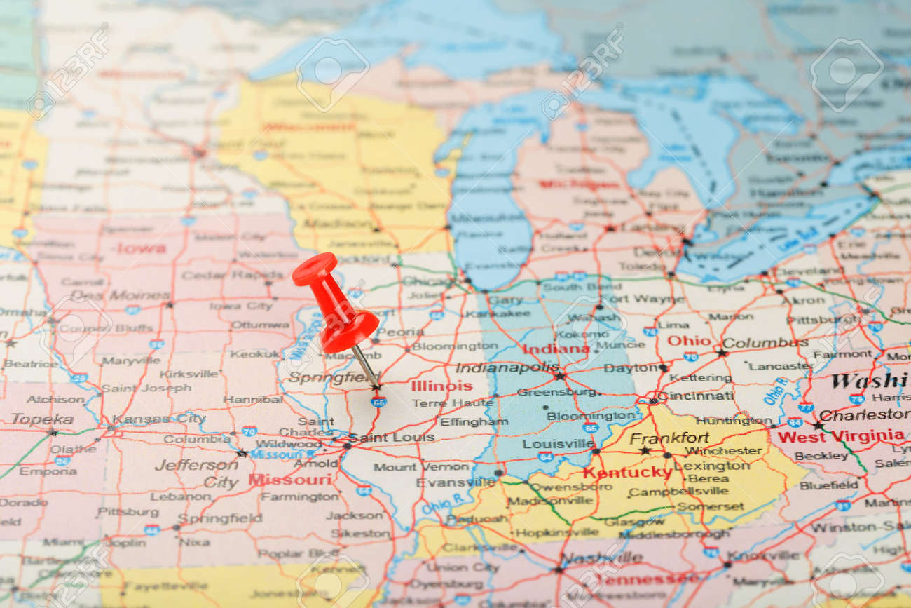 Red clerical needle on a map of USA, Illinois and the capital.. on illinois on a map of north america, iowa and illinois usa, detroit map usa, illinois storm radar map, cartoon map of usa, illinois county map, illinois state,