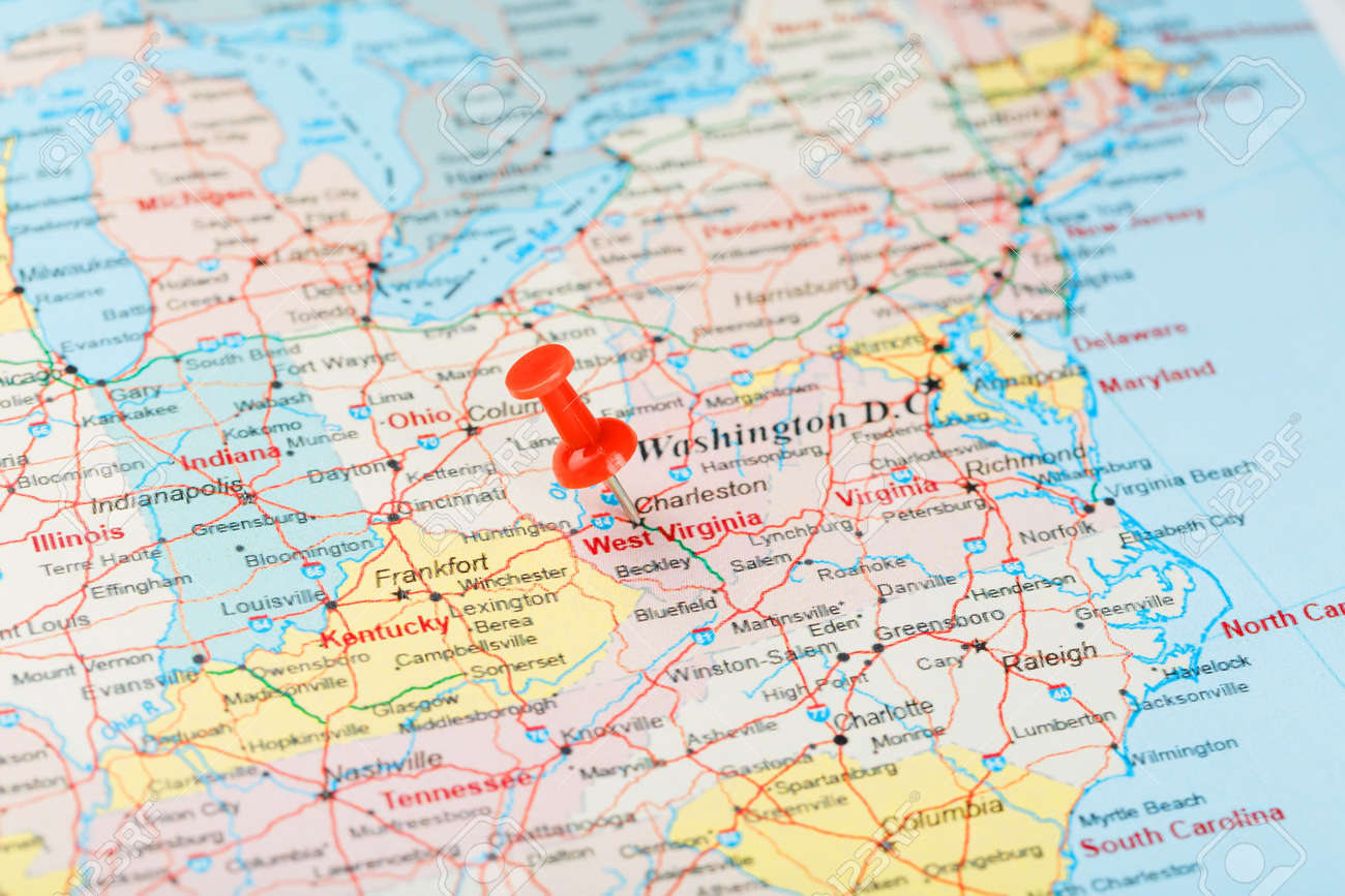 Red clerical needle on a map of USA, South West Virginia and..