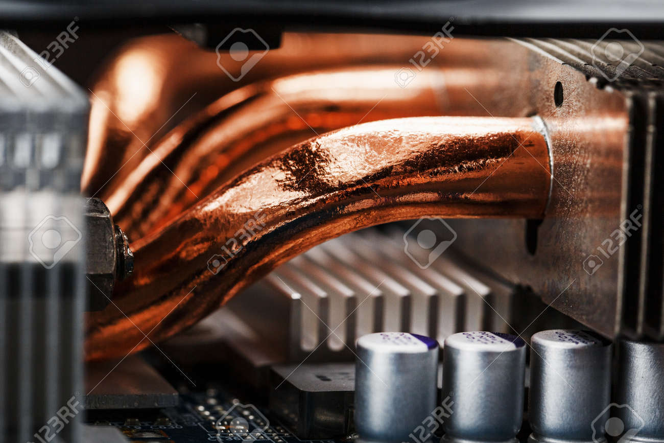 Video card cooling system with copper pipes, aluminum radiators and fans. Video chip for gaming and cryptocurrency mining. Dark key - 169206507
