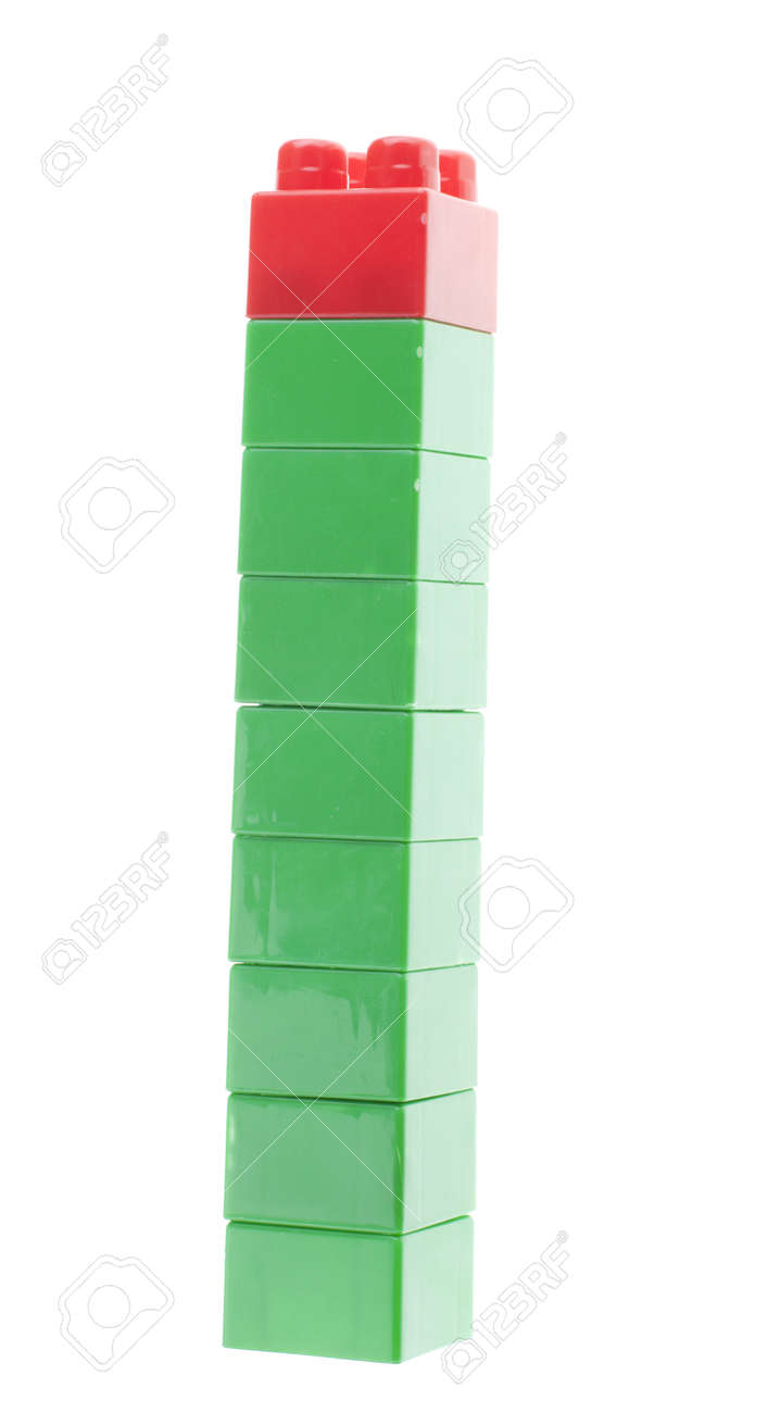 Plastic bricks stack. Green and red, isolated Stock Photo - 13489677