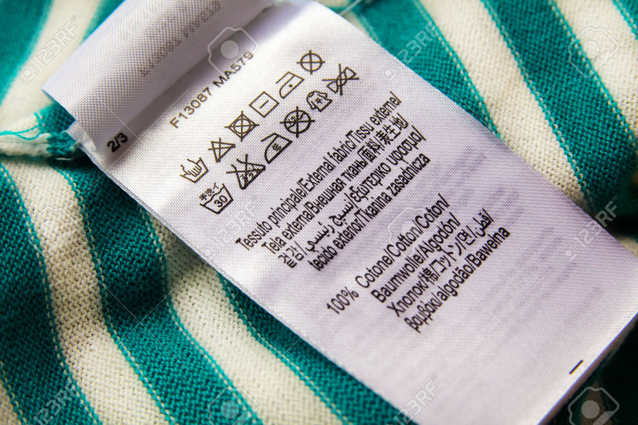 Clothing Label With Laundry Care Instructions Symbols Sign On