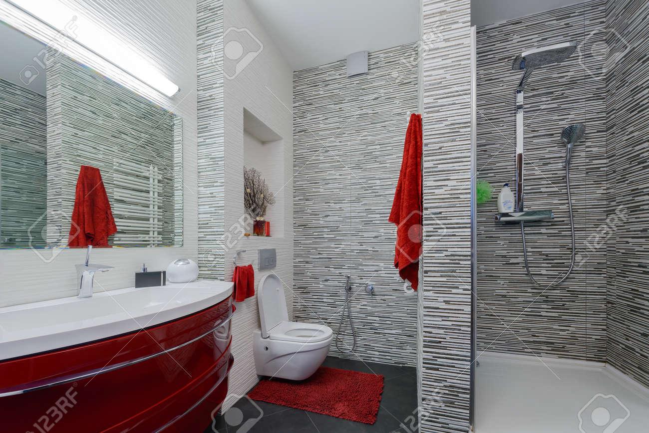 Intérieur belle salle de bain dans un style moderne dans les tons gris et  rouges