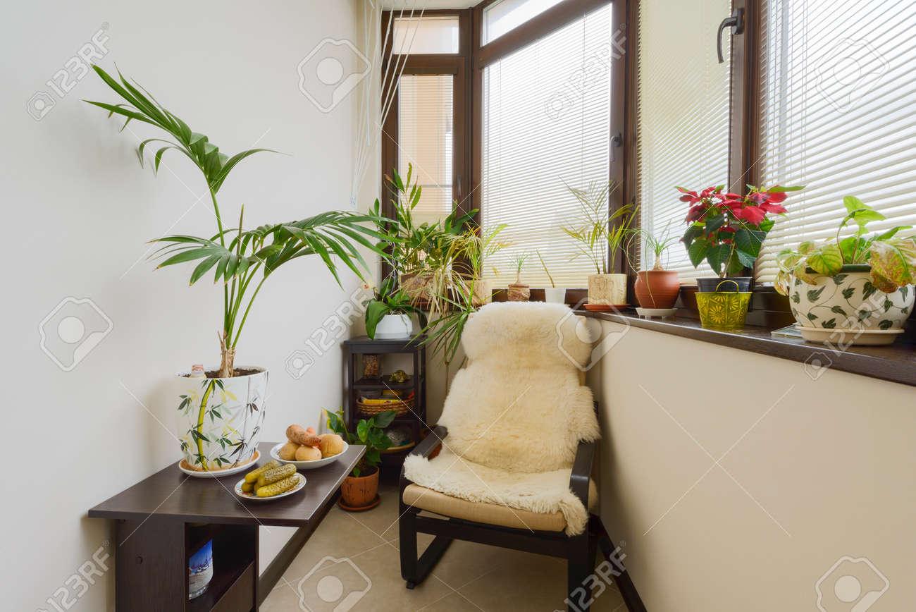 L\'interno di un bel soggiorno con mobili moderni in colori vivaci