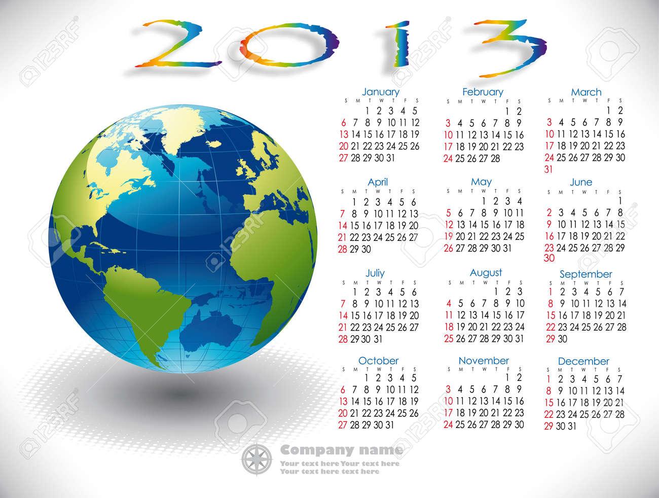 World Calendar 2013 English version Stock Vector - 15789180