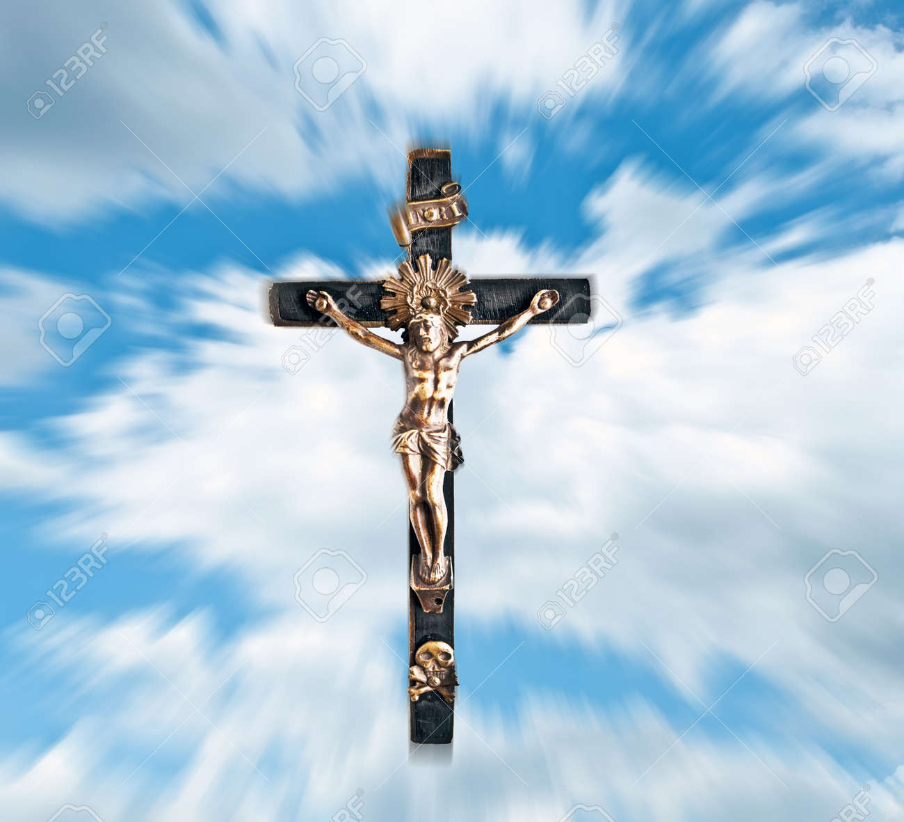 jesus christ against blue sky and clouds stock photo picture and