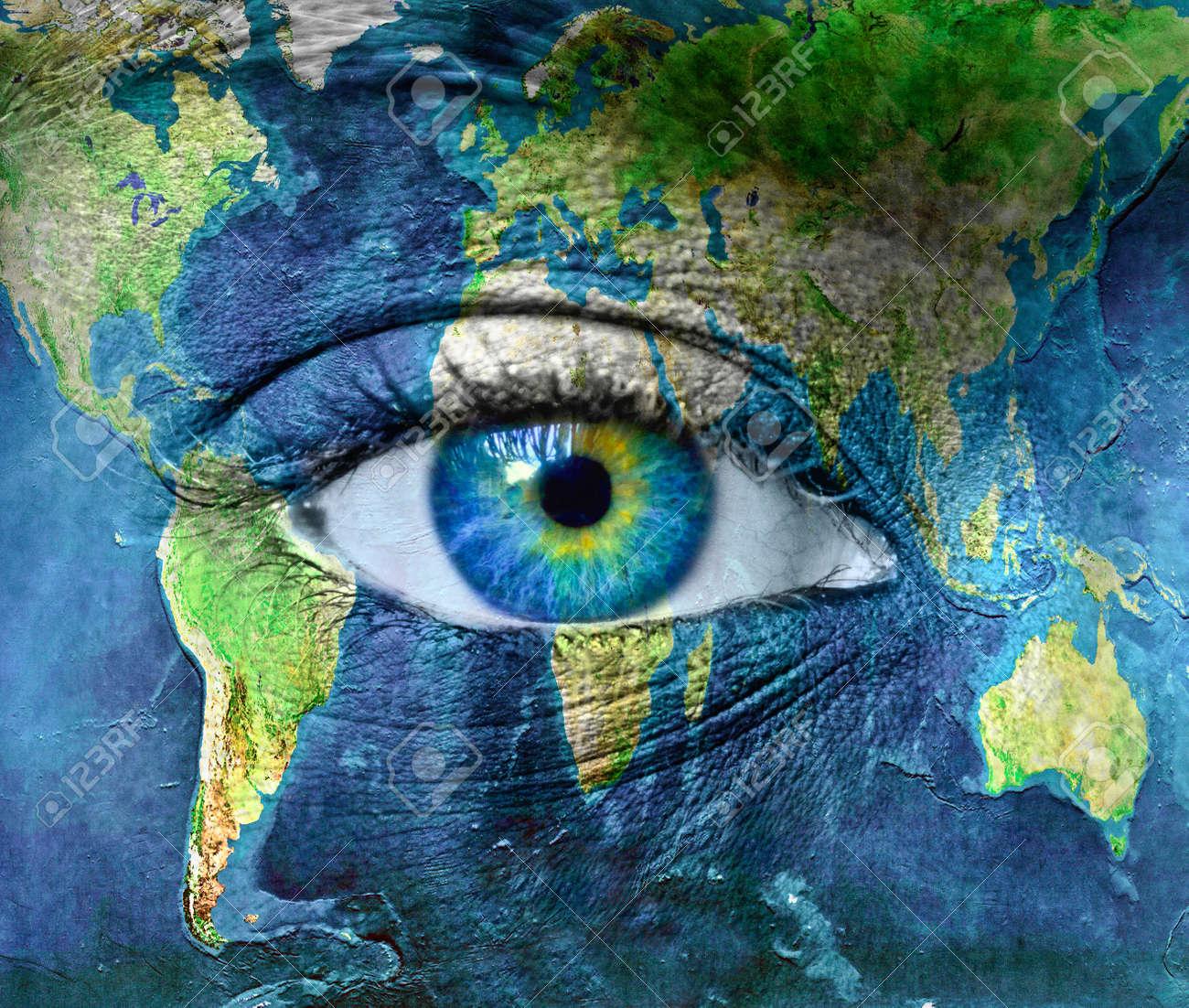 Planet earth and blue hman eye Stock Photo - 11699921