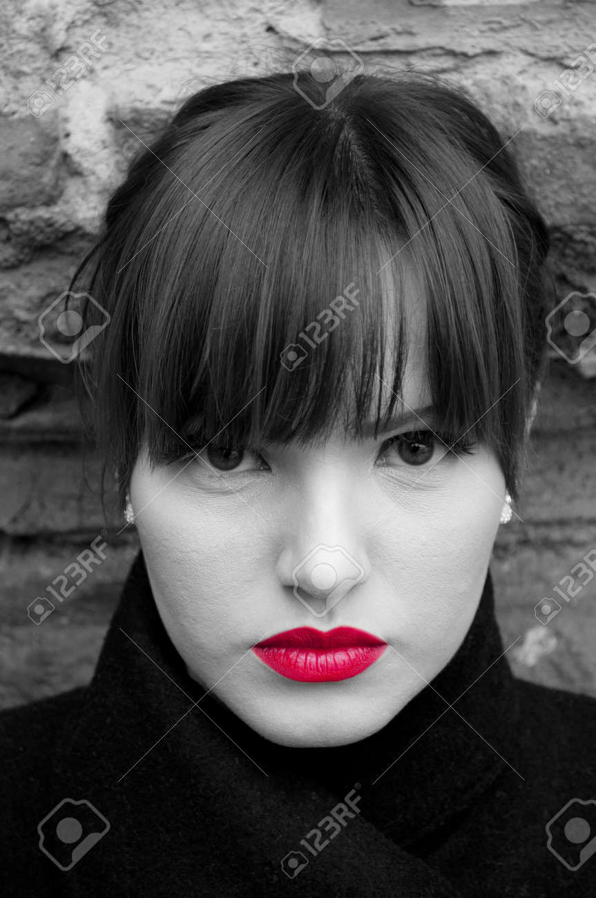 Fashion model portrait in black and white with red lips Stock Photo - 12040739