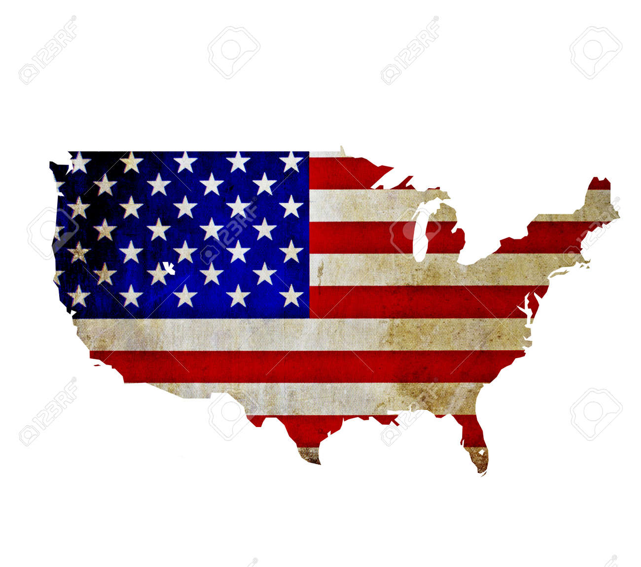 Map Of United States Of America Isolated Stock Photo Picture And - Us map american flag