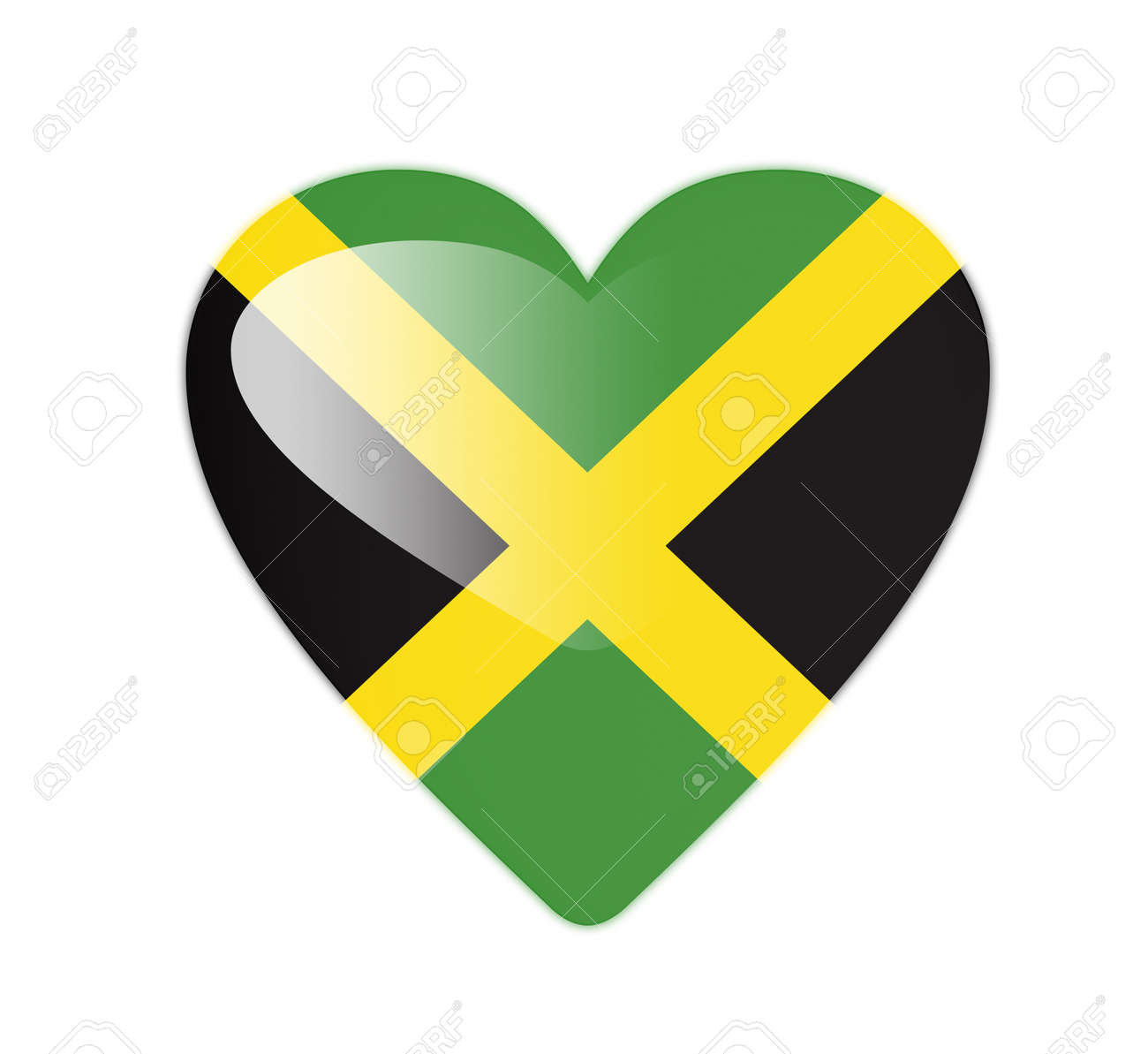 Jamaica 3d heart shaped flag stock photo 13245962