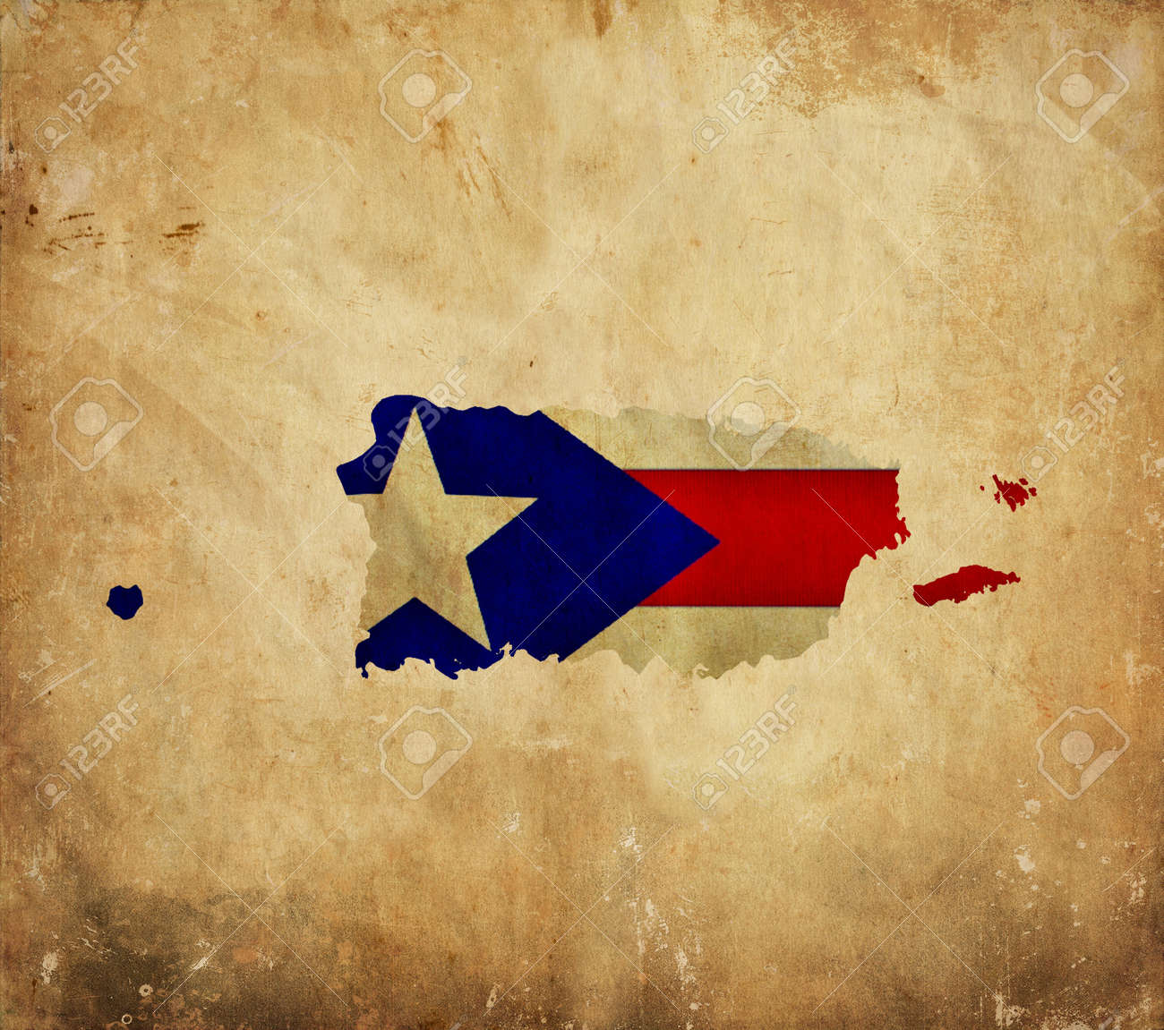Vintage Map Of Puerto Rico On Grunge Paper Stock Photo, Picture And ...