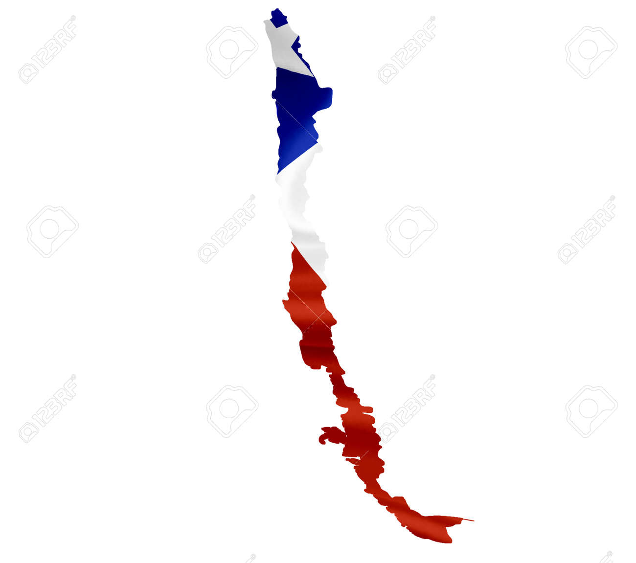 map of chile with waving flag isolated on white stock photo picture