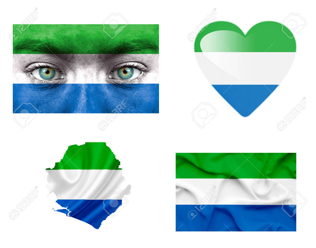 Set of various Sierra Leone flags Stock Photo - 14826647