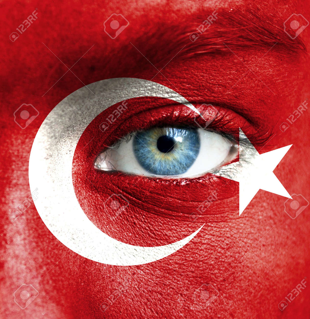 Human face painted with flag of Turkey Stock Photo - 16523532