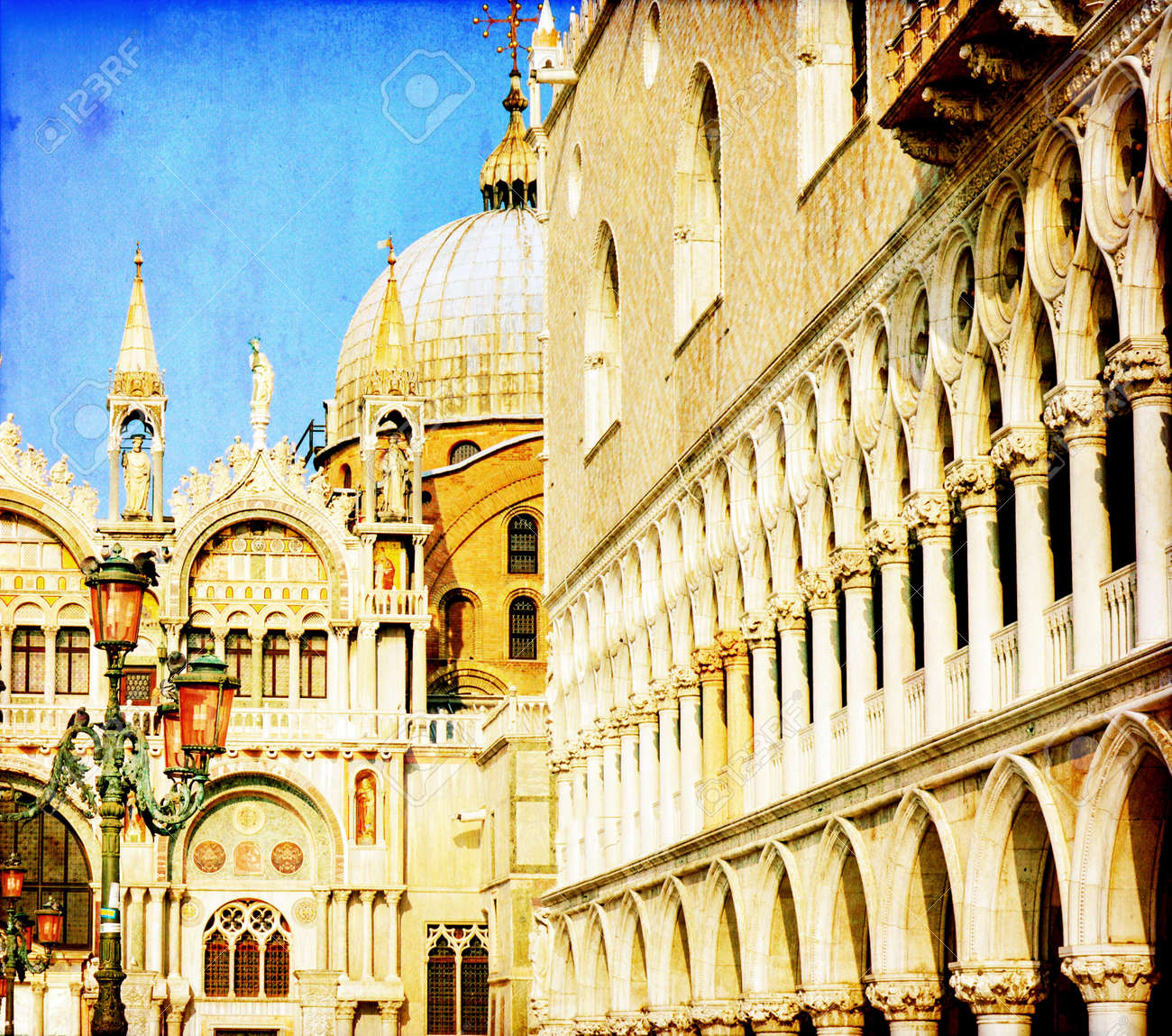 Vintage image of San Marco square - Venice Italy Stock Photo - 16796047