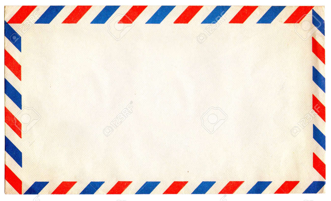 Marvelous Empty Vintage Air Mail Envelope Isolated On White Stock Photo   17119944