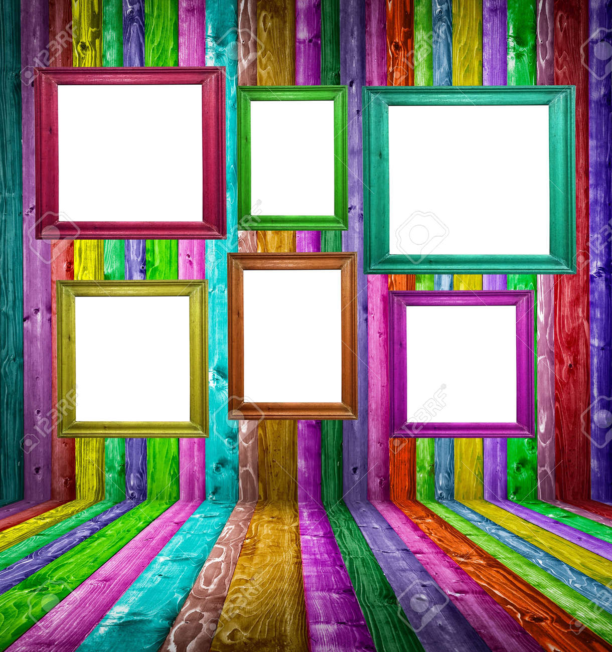 Retro colorful wood room with multicolored photo frames Stock Photo - 17677138