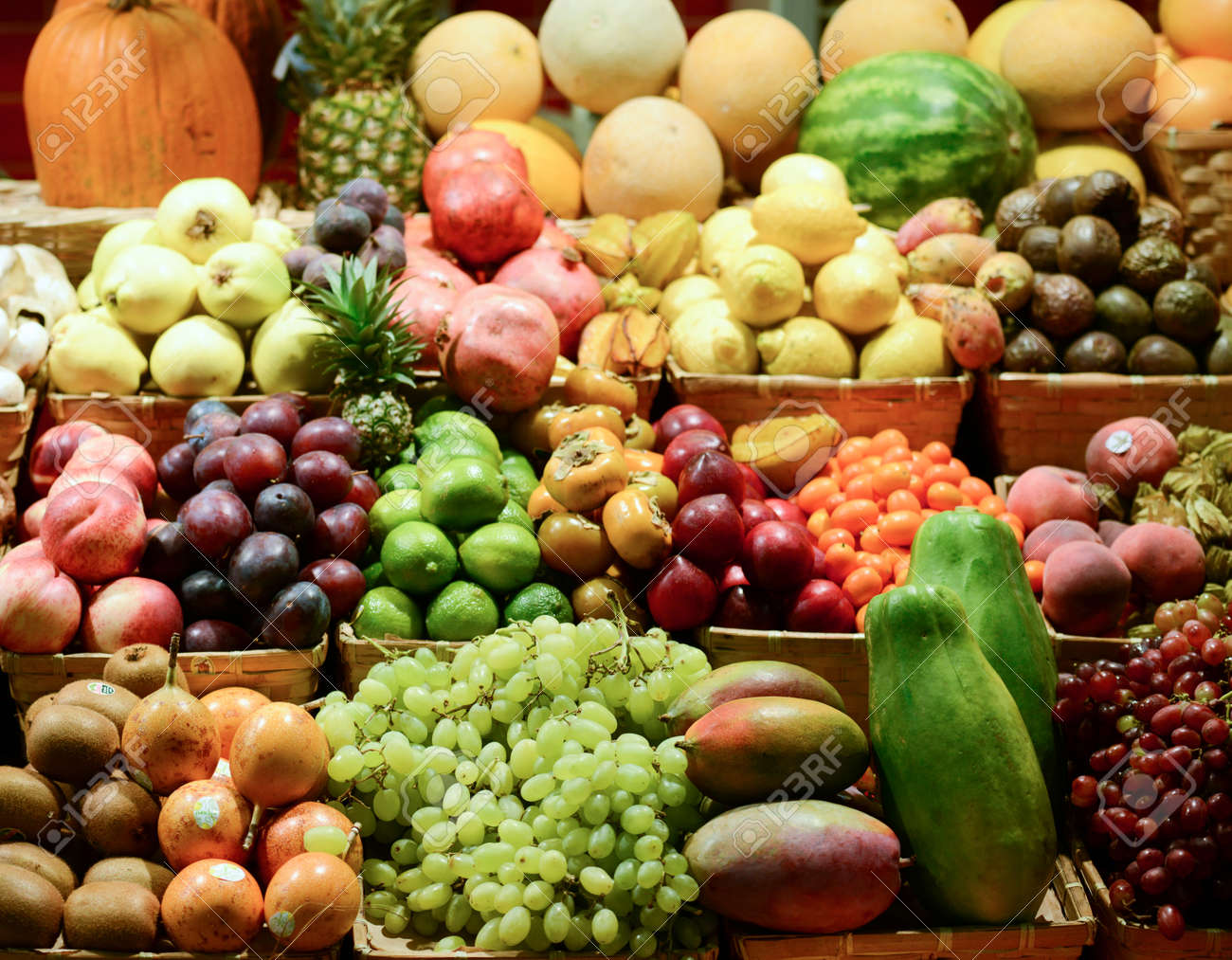 Fruit market with various colorful fresh fruits and vegetables - Market series - 23318357