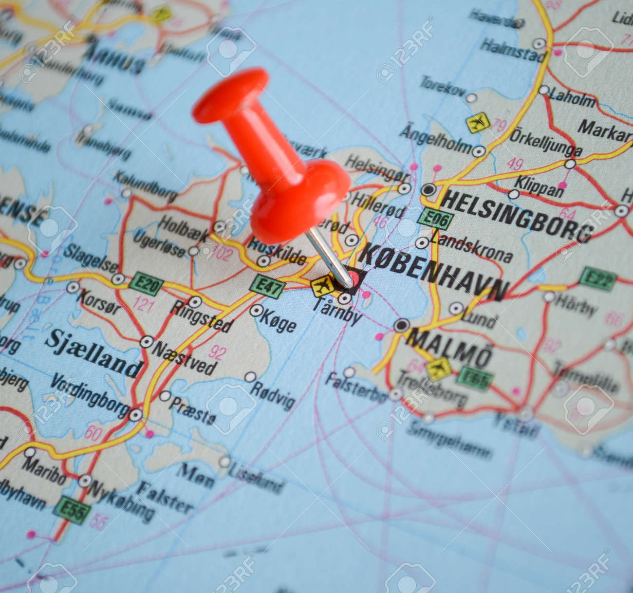 Close Up Of Copenhagen Map With Red Pin Travel Concept Stock Photo