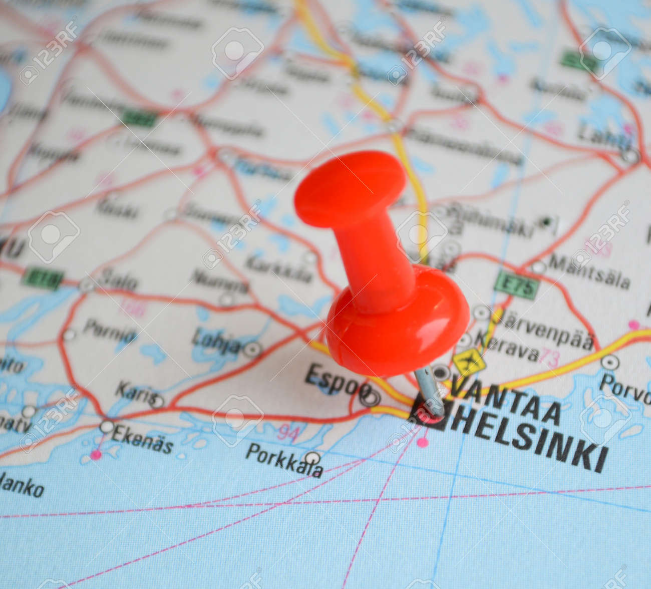 Close Up Of Helsinki Map With Red Pin Travel Concept Photo – Travel Pin Map Online