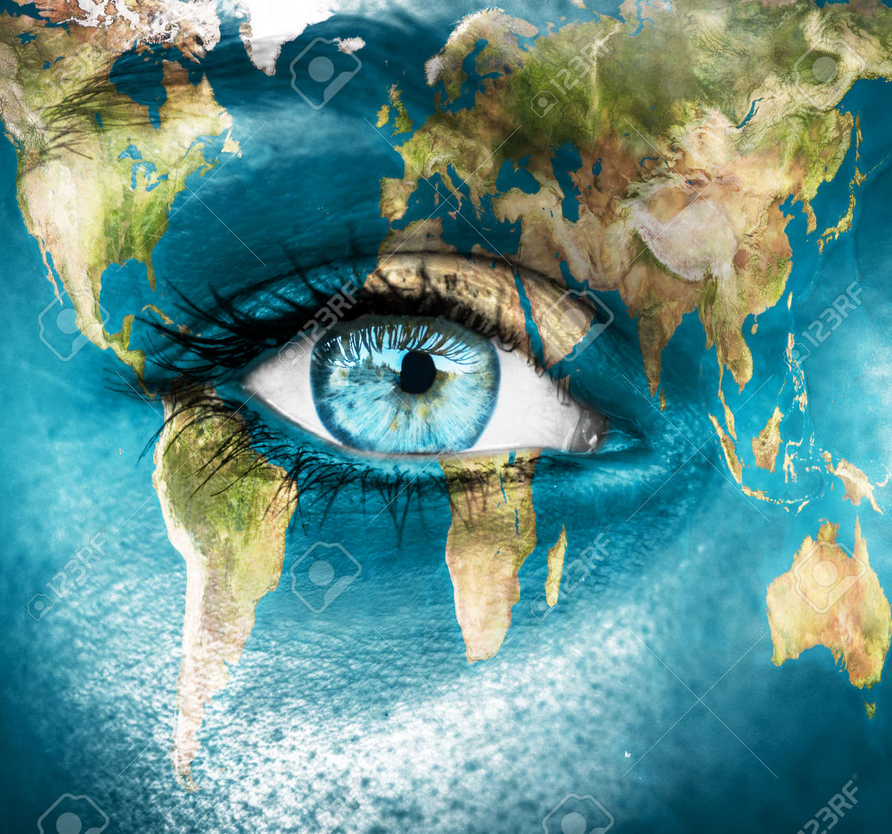 """Planet earth and blue human eye - """"Elements of this image furnished by NASA"""" - 27773924"""