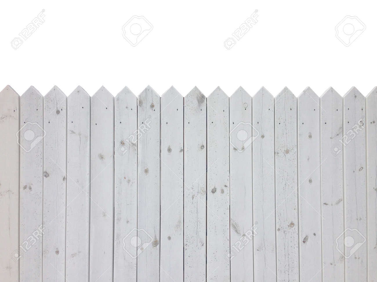 White wooden fence isolated on white background with copy space - 29014382
