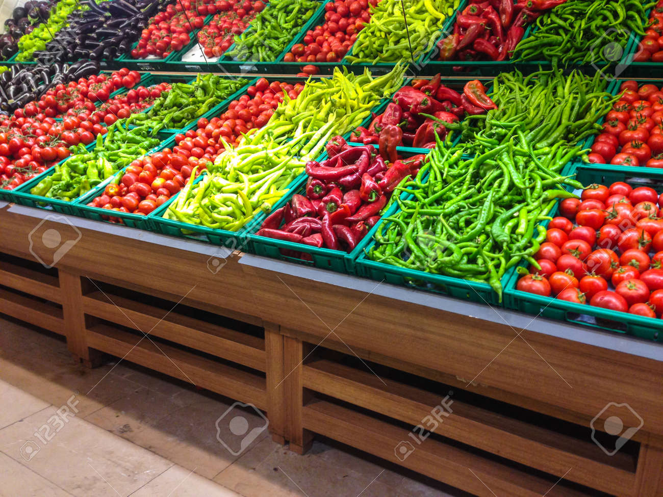 Market with various colorful fresh fruits and vegetables - 30962322