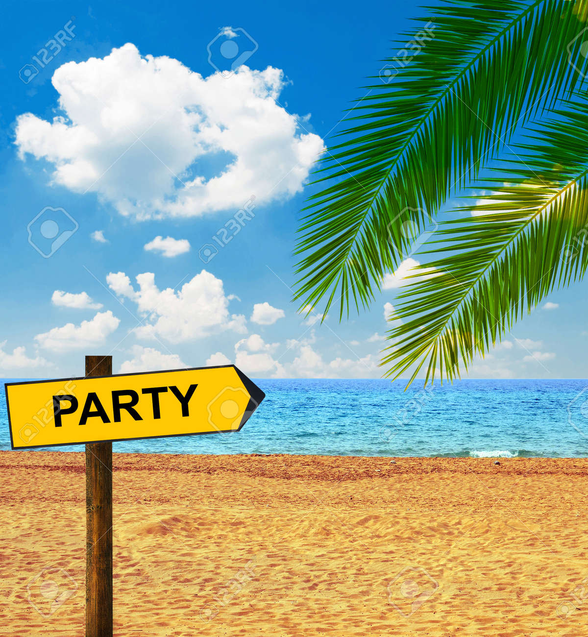 Tropical Beach And Direction Board Saying PARTY Stock Photo   32301465