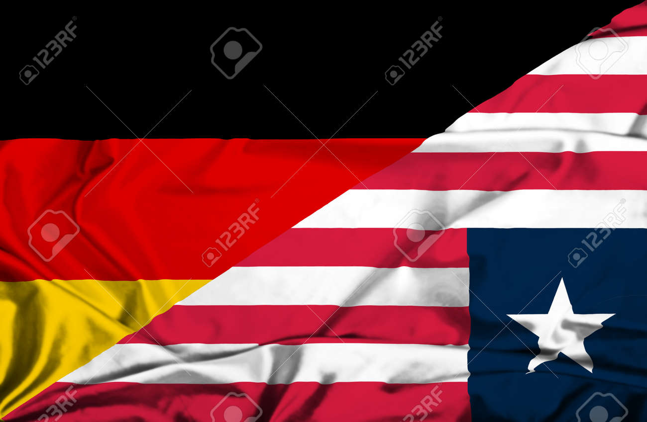 Waving flag of Liberia and Germany