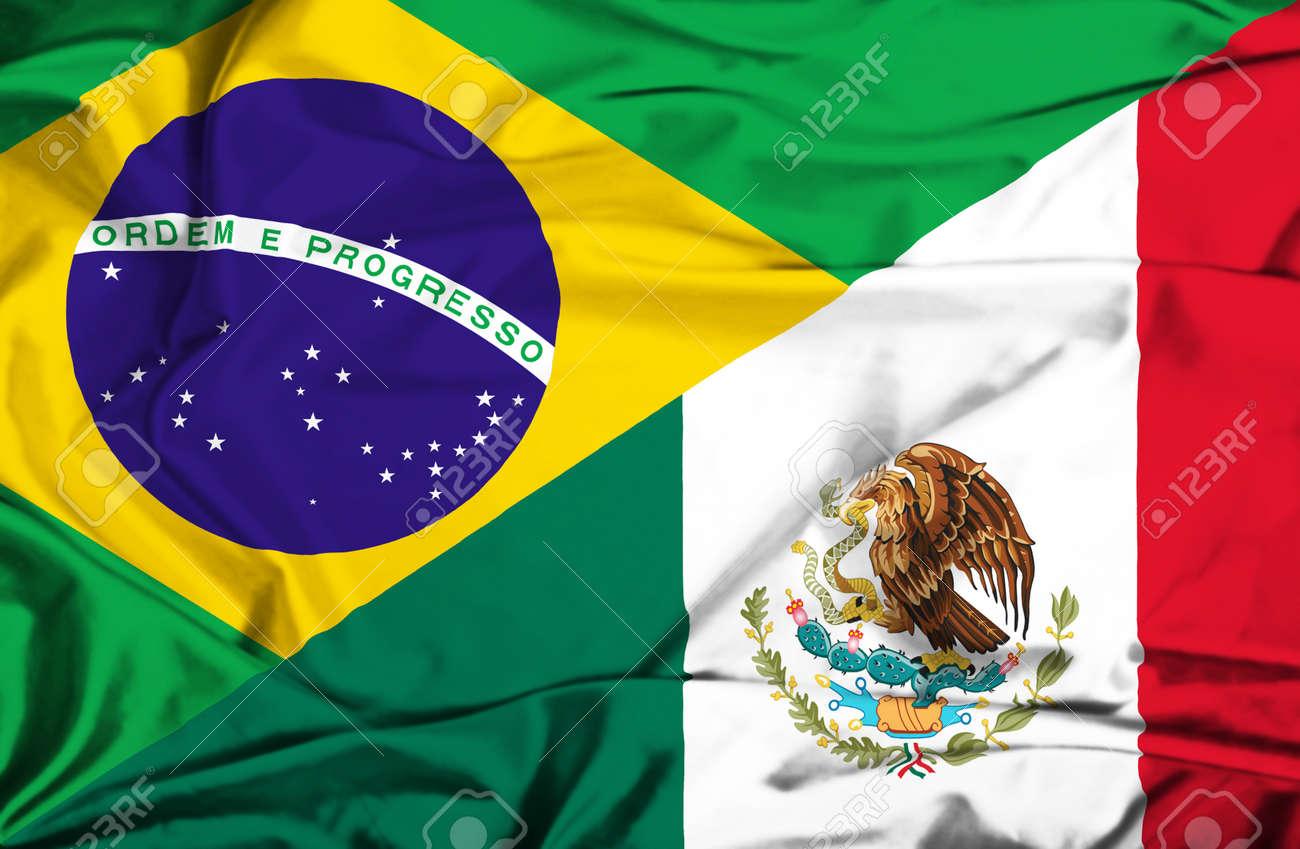 Handmade watercolor brazil flag brasil stock photos freeimages com - Brazil Flag Business Waving Flag Of Mexico And Brazil
