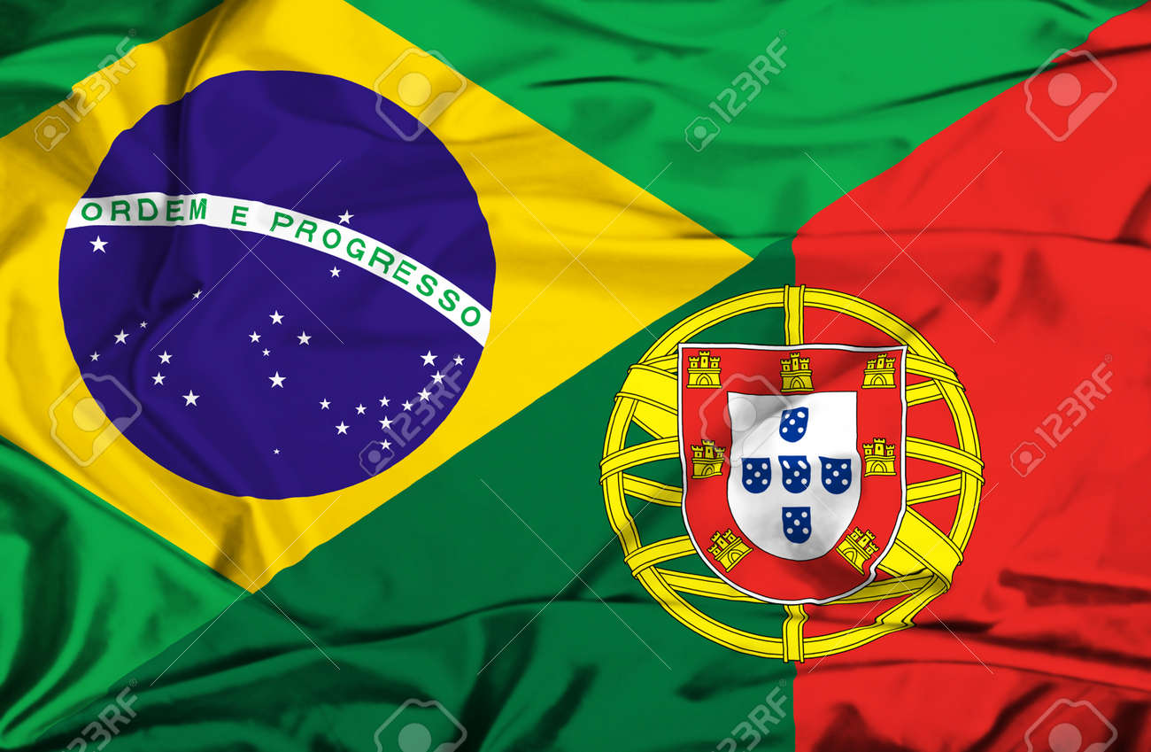 Waving Flag Of Portugal And Brazil Stock Photo, Picture And Royalty Free  Image. Image 36593230.