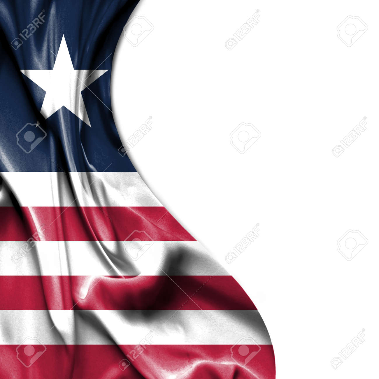 Liberia waving silky flag isolated on white background