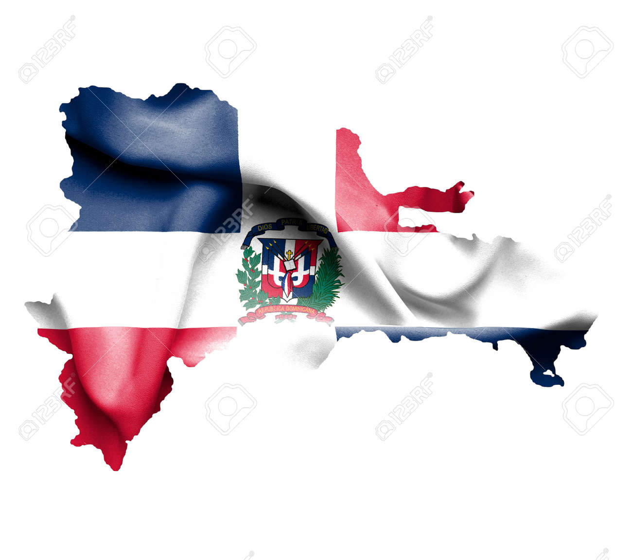 Map Of Dominican Republic Waving Flag Isolated On White Stock Photo Dominican Republic Map Flag on
