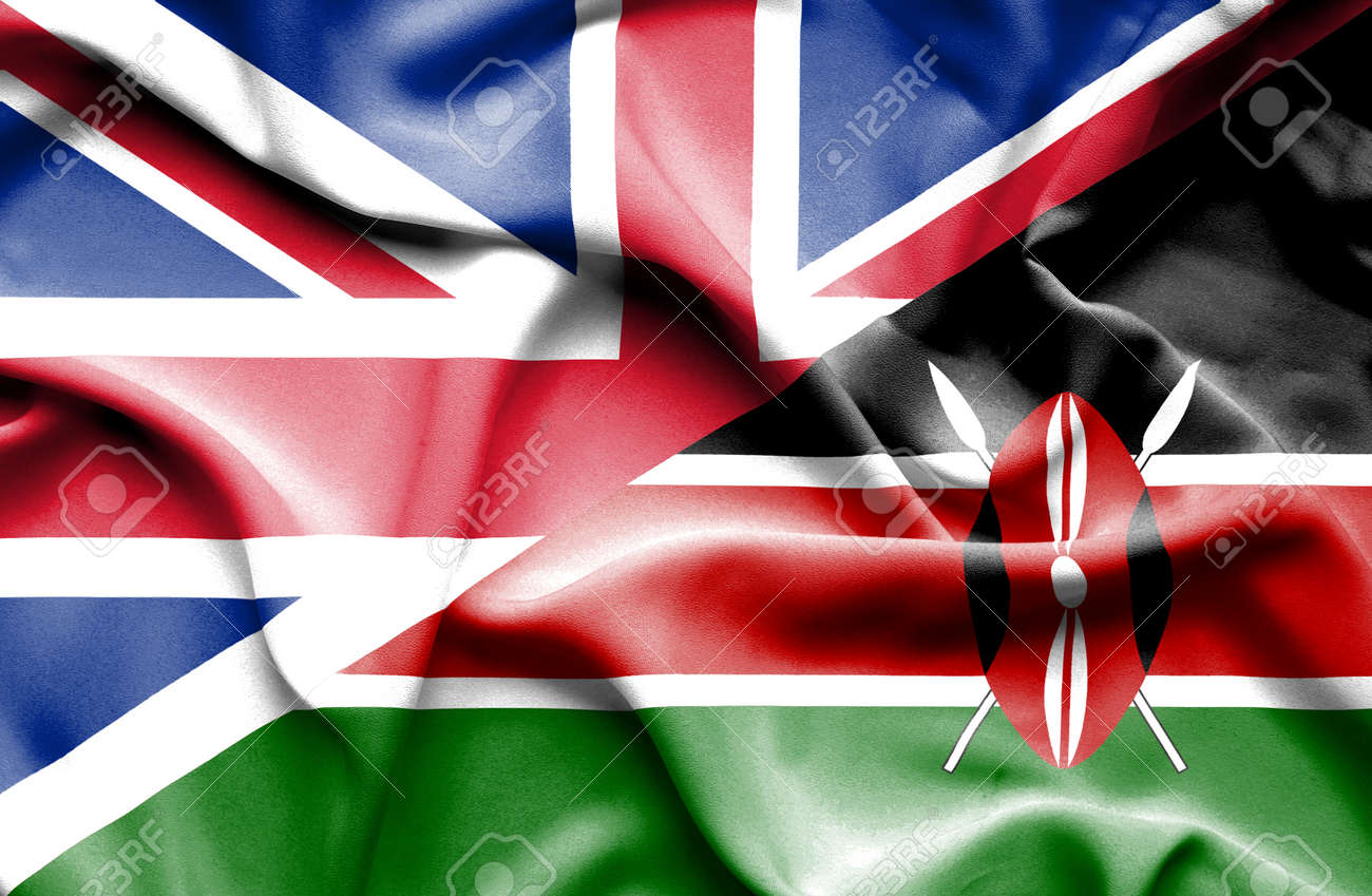 waving flag of kenya and great britain stock photo picture and
