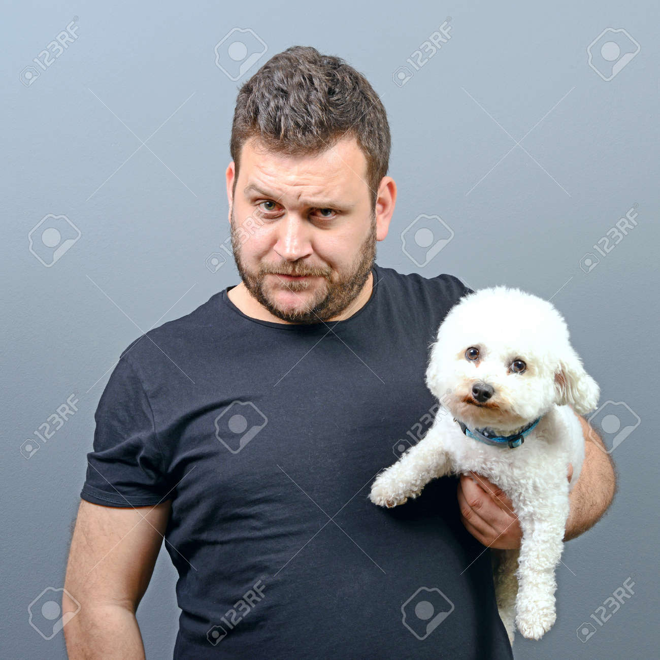Cool Maltese Chubby Adorable Dog - 56549527-portrait-of-funny-looking-chubby-man-holding-cute-small-bichon-frise-puppy-against-gray-background  Image_48322  .jpg