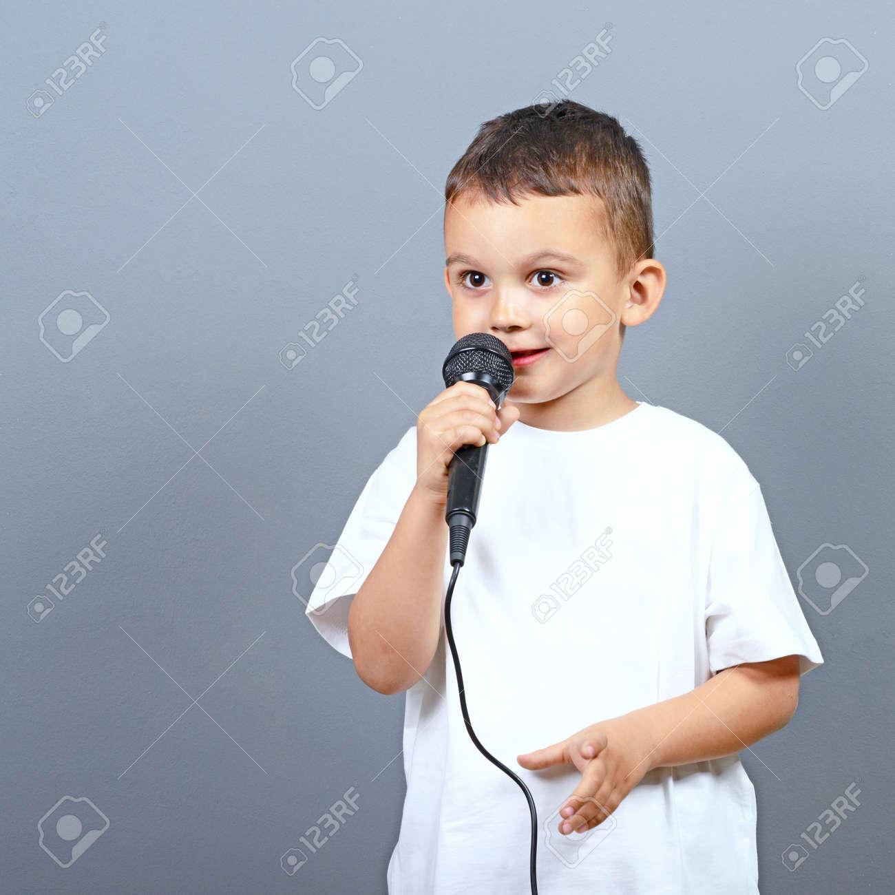 Chubby boy sings