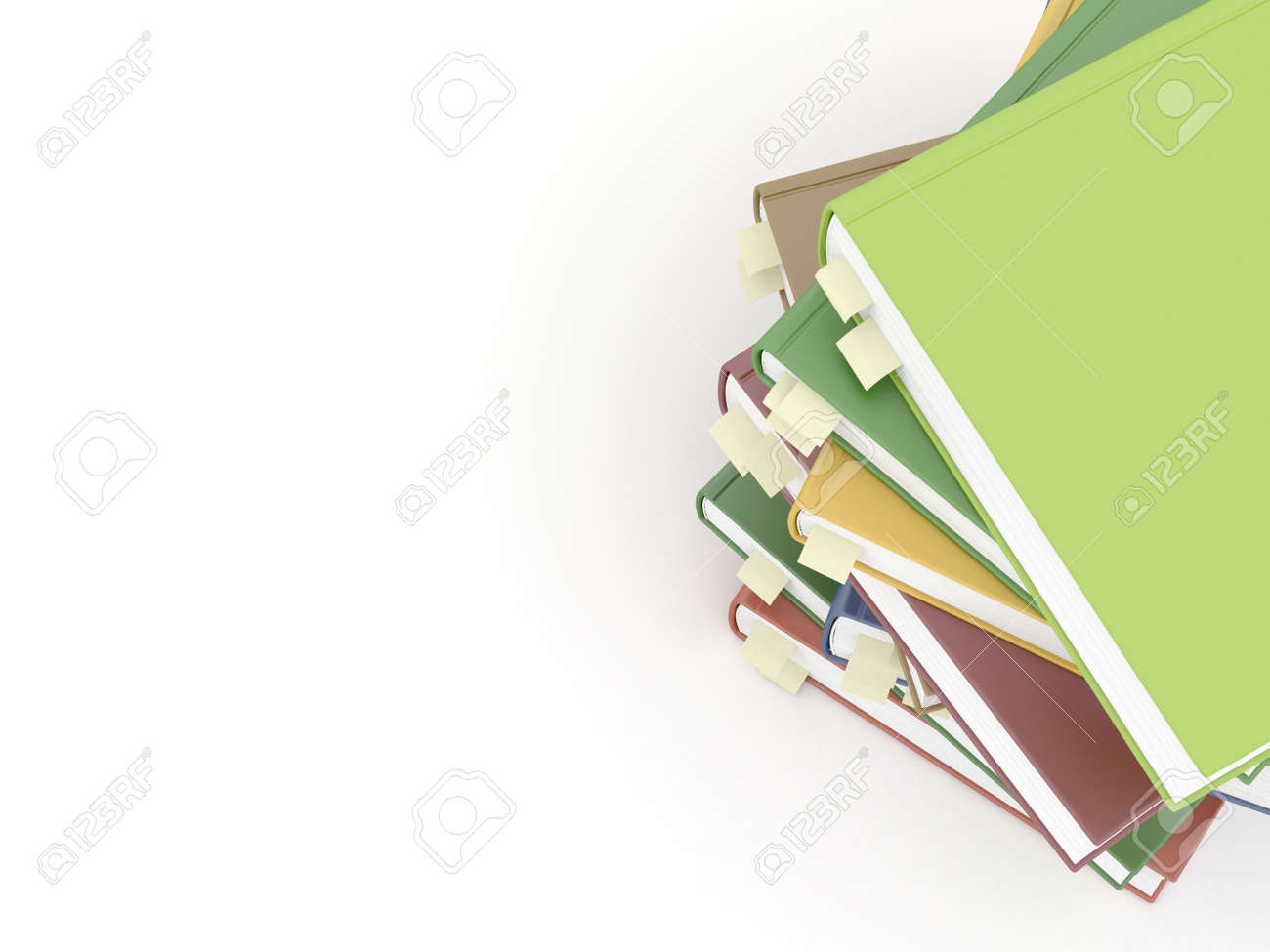 Books with bookmarks on white Stock Photo - 20755254