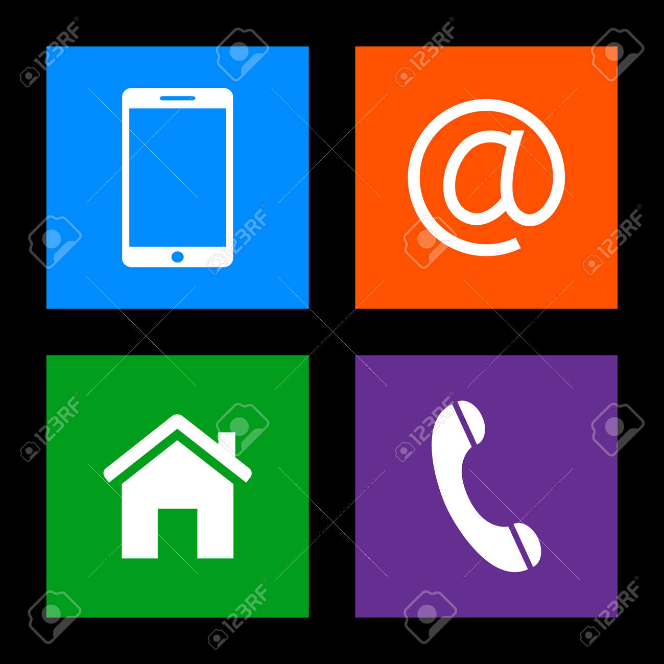 Contact Buttons - Mobile, Email, Home, Phone Icons Royalty Free ...