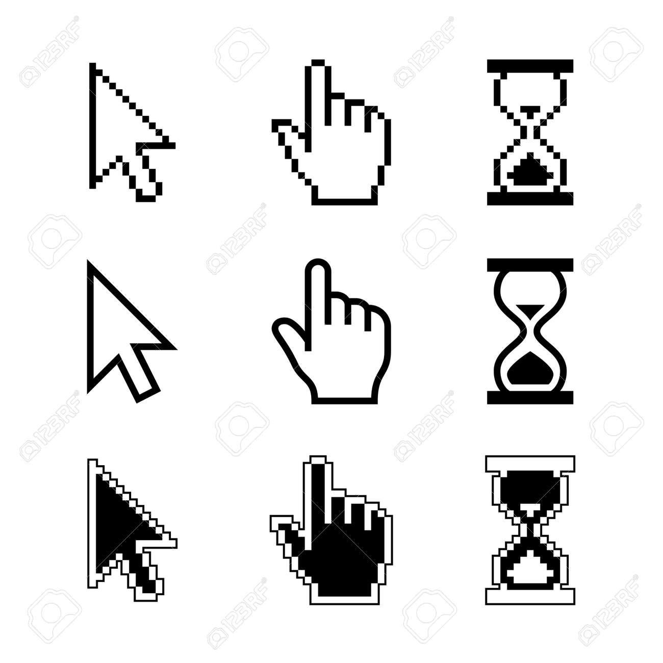 Pixel cursors icons - mouse cursor hand pointer hourglass. Vector illustration. - 33203447