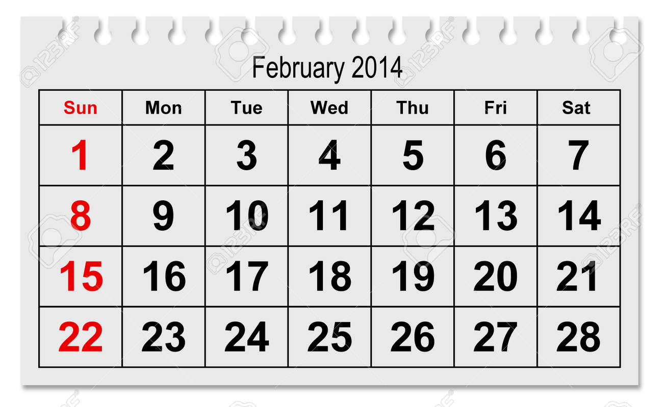 one page of the annual calendar month february 2015 stock photo