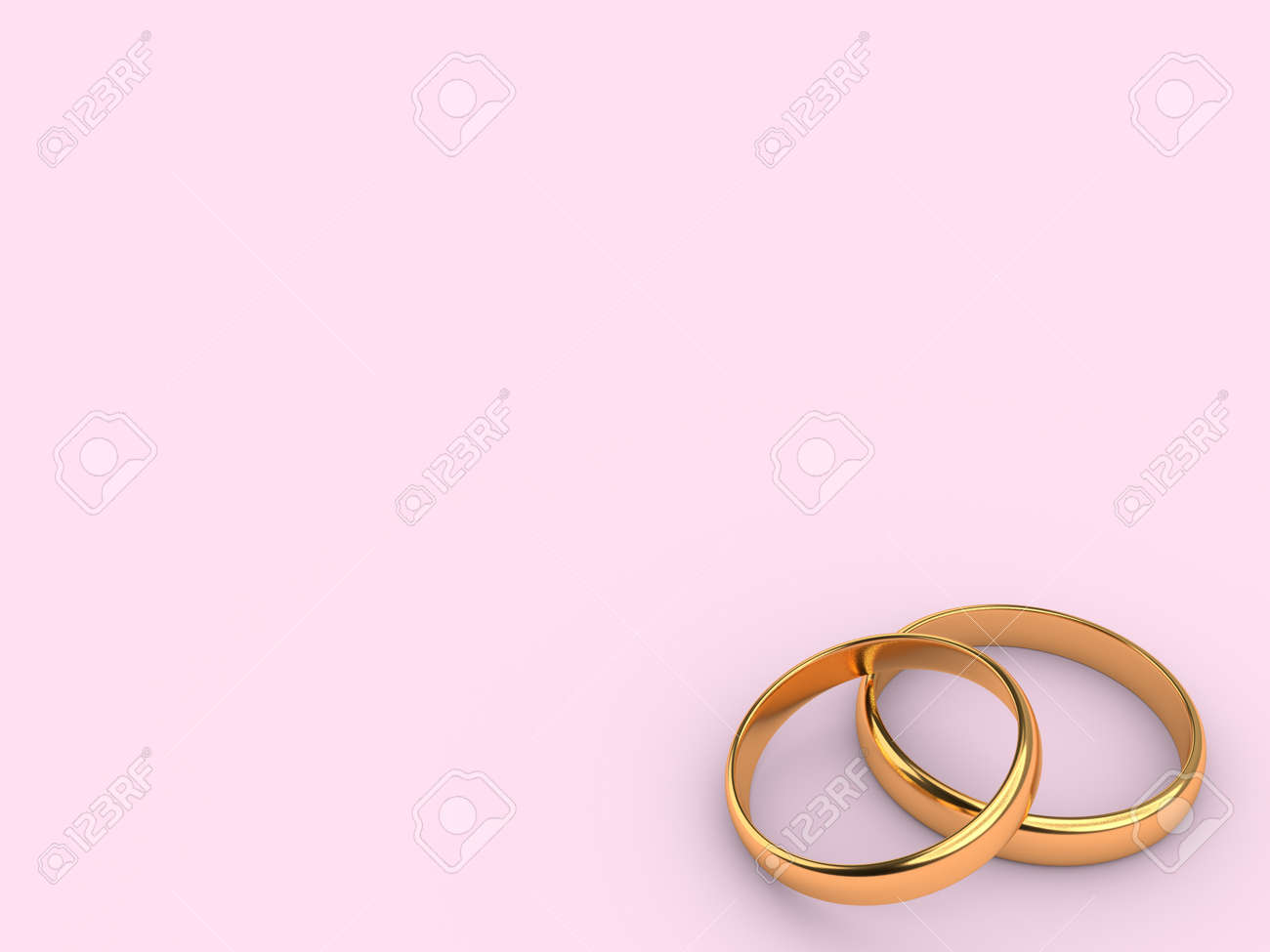 Two Wedding Gold Rings Lie On Each Other With Blank Space For ...