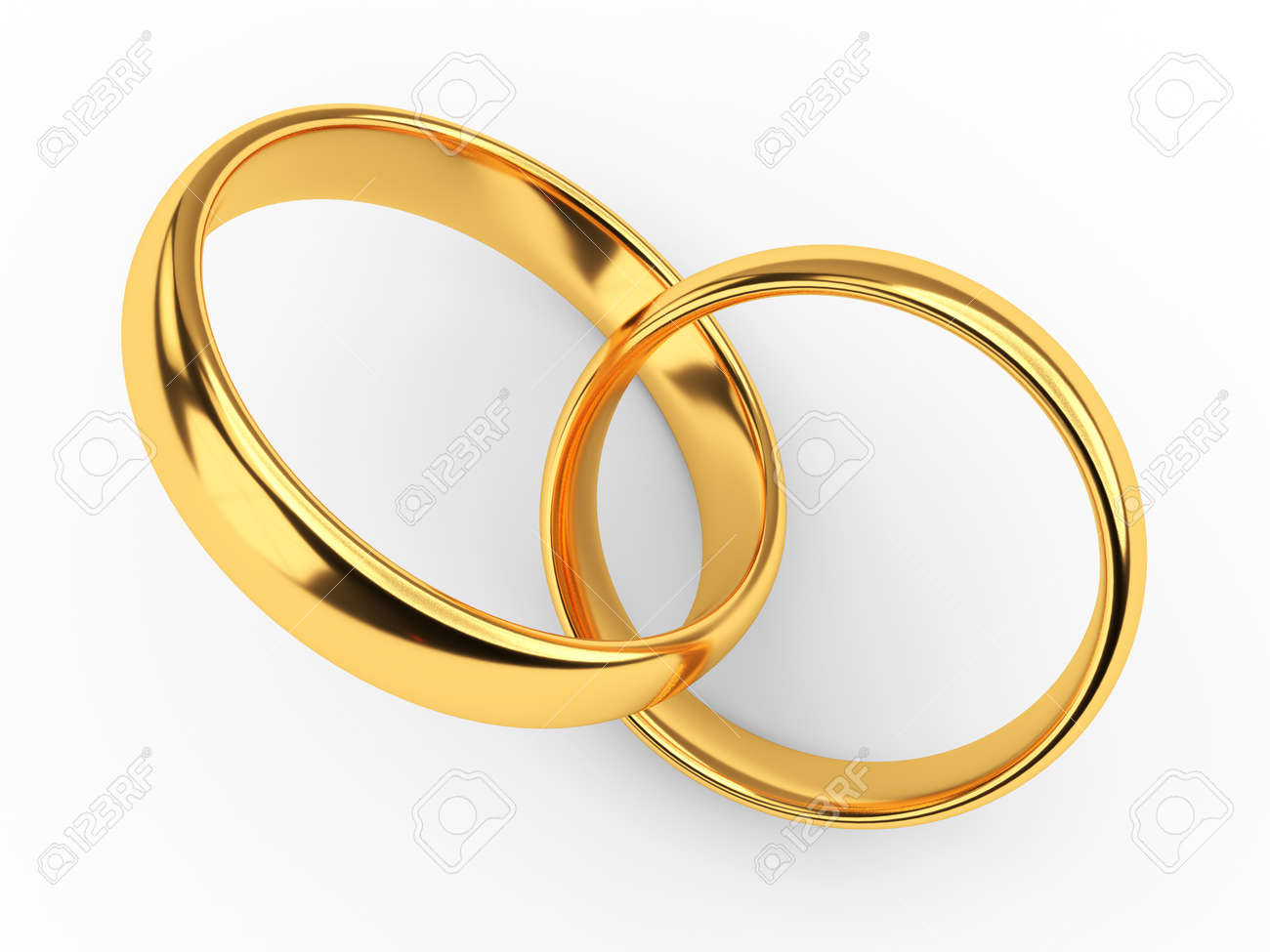 illustration of two connected gold wedding rings stock photo