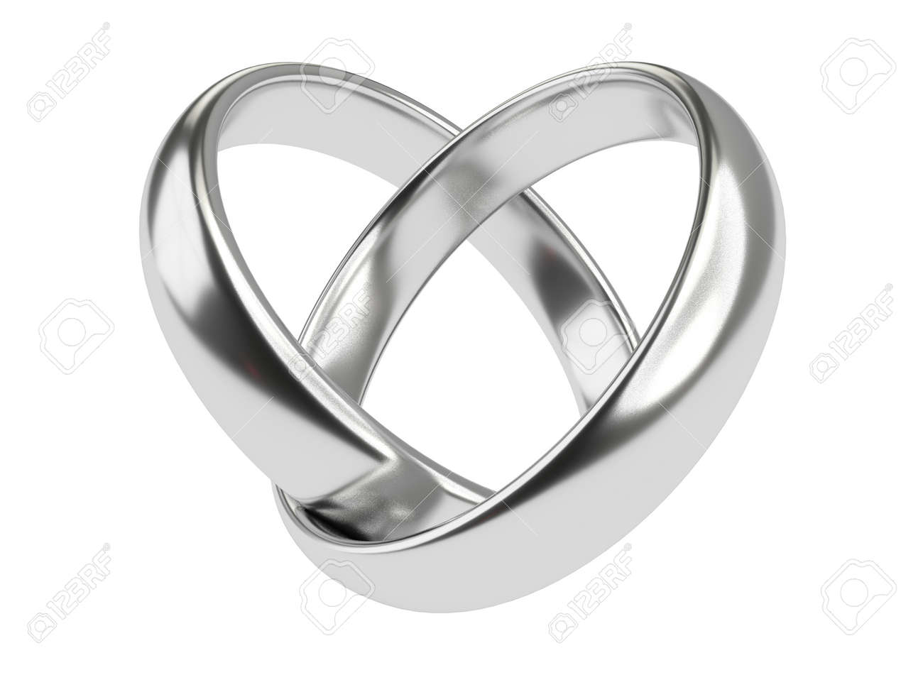 Herz Mit Zwei Miteinander Verbundene Ringe Der Silbernen Hochzeit
