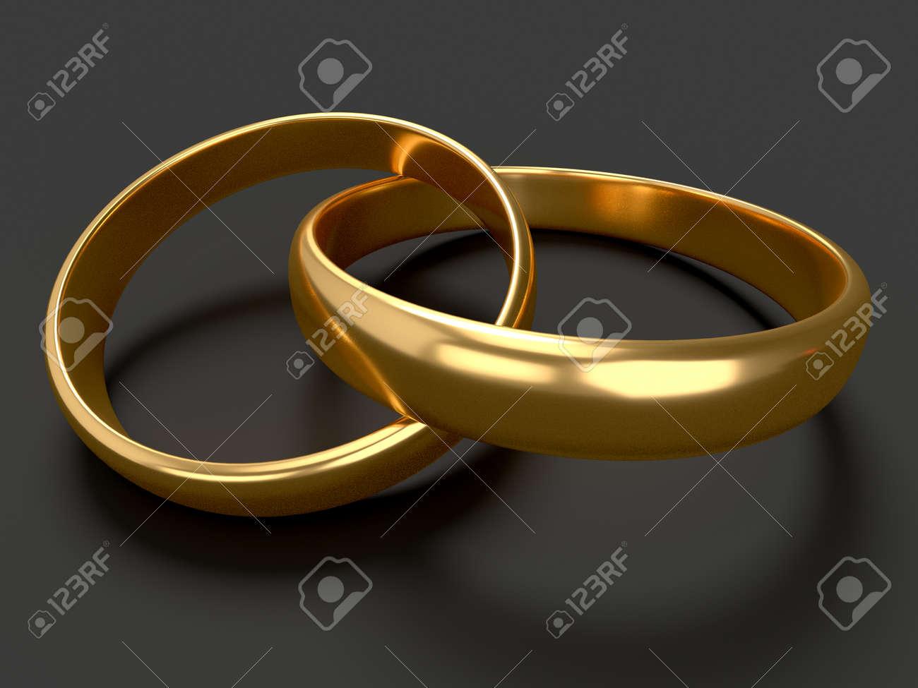 Coeur Avec Deux Connectés Anneaux De Mariage Dor Sur Fond Noir